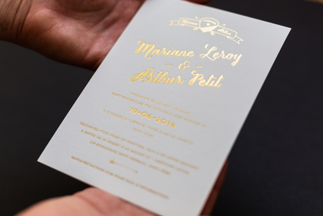 mister m studio faire part mariage letterpress dorure arthur - LaFianceeduPanda.com