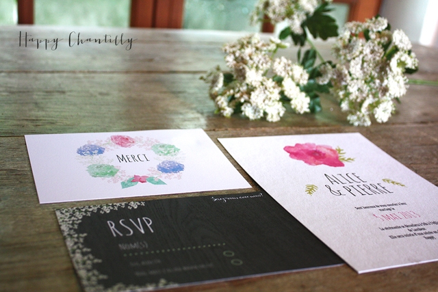 Faire-part romantique fleurs Happy Chantilly Studio - LaFianceeduPanda.com