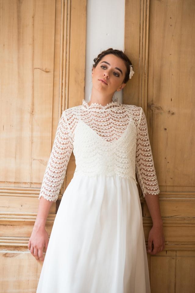 Robe mariage beige dentelle