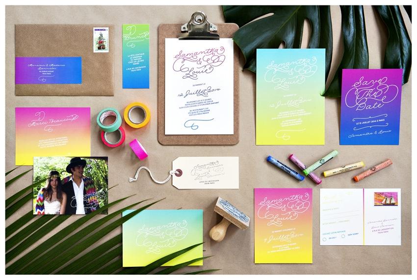 Faire part mariage colore Mister M Studio - La Fiancee du Panda blog mariage