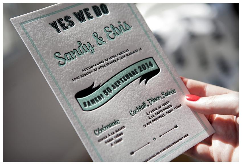 Faire part mariage letterpress Mister M Studio - La Fiancee du Panda blog mariage