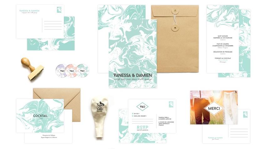Faire-part mariage marbre papier venitien Monkey Choo l La Fiancee du Panda blog mariage