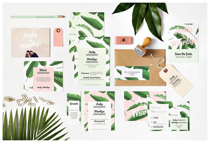 Faire part mariage tropical Mister M Studio - La Fiancee du Panda blog mariage