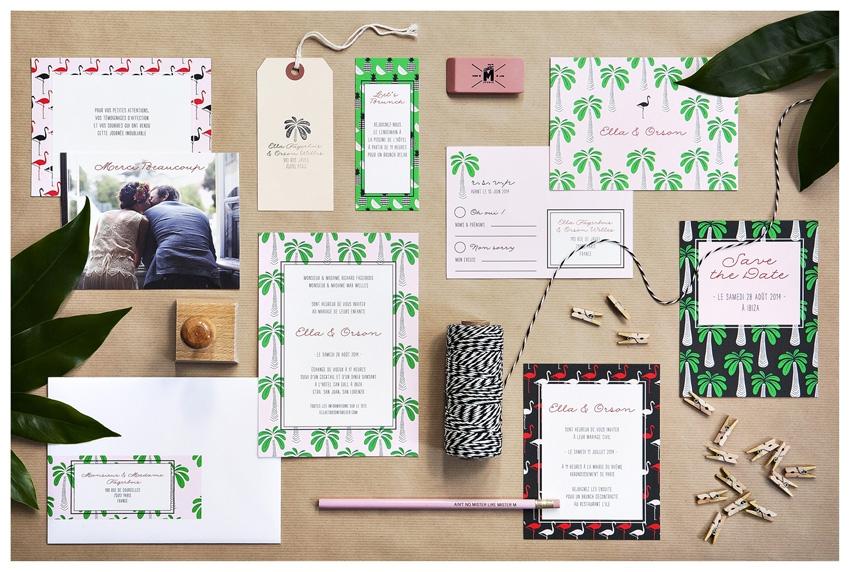 Faire part mariage tropical retro Mister M Studio - La Fiancee du Panda blog mariage