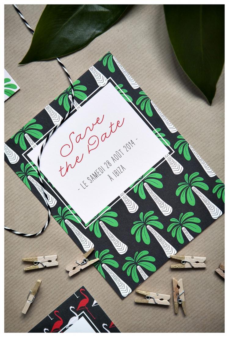Faire part mariage vintage tropical Mister M Studio - La Fiancee du Panda blog mariage