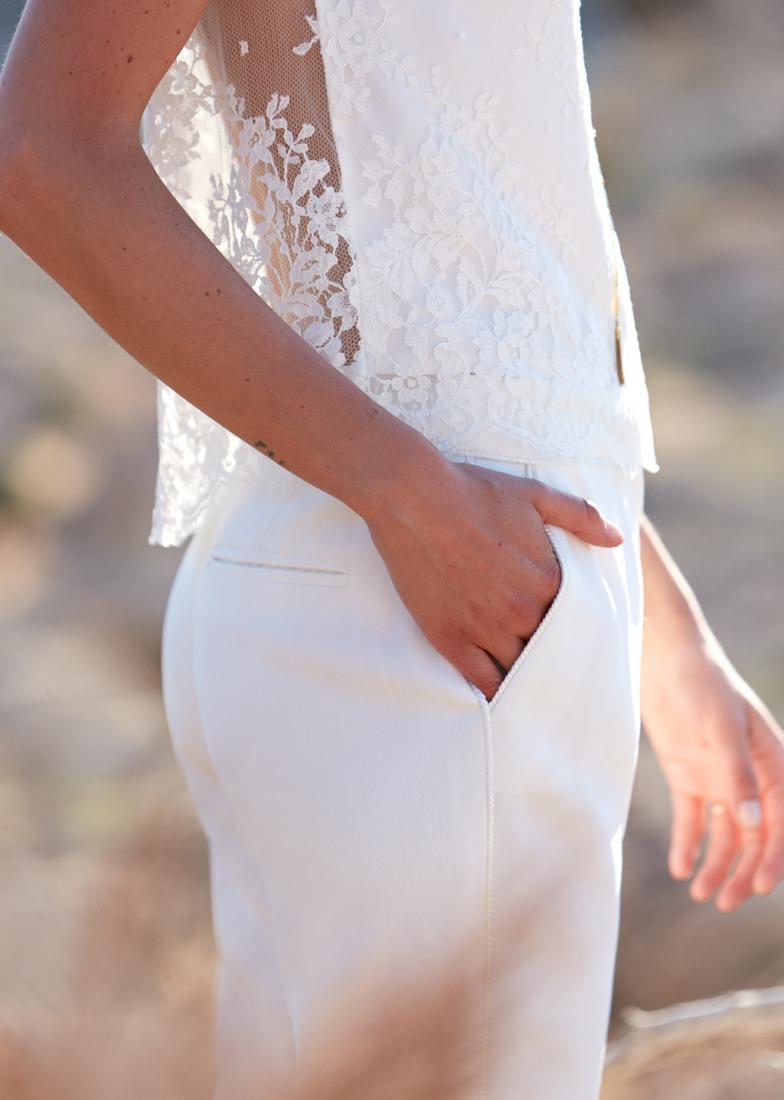 Sezane x Laure de Sagazan top dentelle pantalon blanc mariage l La Fiancee du Panda