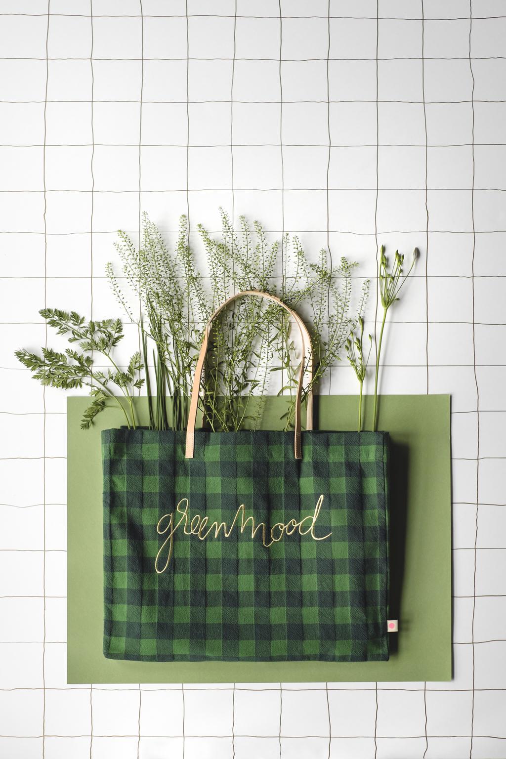 Sac cabas carreaux lin lave vert La Cerise sur le Gateau x Mamie Boude collab l La Fiancee du Panda blog deco et lifestyle